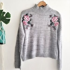 Gray Knit Sweater with Pink Floral Embroidery
